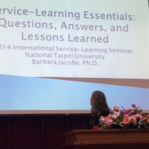 Checking the slides before my keynote address at the International Service-Learning Conference in Taipei, Taiwan.