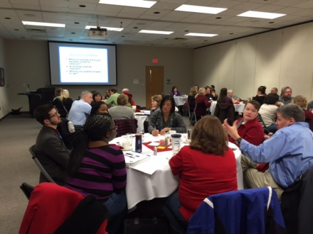 Lively discussion during faculty workshop on experiential learning at Indiana University Kokomo