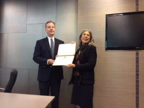 Receiving the honor of Visiting Professor at National Taipei Medical University before my address on service-learning.